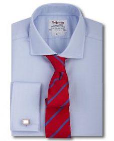 Рубашка мужская под запонки большого размера с длинным рукавом синяя T.M.Lewin приталенная Slim Fit (46456 LS)