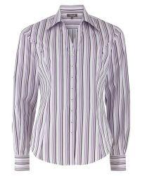 Женская рубашка белая в сиреневую полоску T.M.Lewin приталенная Fitted (44595)