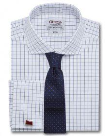 Мужская рубашка под запонки белая в клетку T.M.Lewin приталенная Slim Fit (50472)