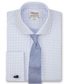 Мужская рубашка под запонки белая в клетку T.M.Lewin приталенная Slim Fit (50983)