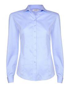 Женская рубашка под запонки синяя хлопок T.M.Lewin приталенная Fitted (51967)