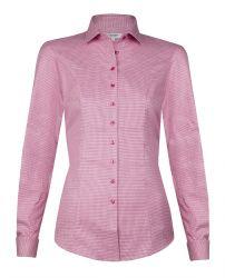 Женская рубашка под запонки розовая хлопок T.M.Lewin приталенная Fitted (52443)