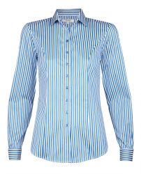 Женская рубашка под запонки белая в синюю полоску хлопок T.M.Lewin приталенная Fitted (52796)