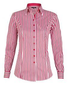 Женская рубашка под запонки белая в красную полоску хлопок T.M.Lewin приталенная Fitted (52918)
