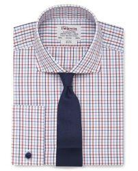 Мужская рубашка под запонки белая в красно-синюю клетку T.M.Lewin приталенная Slim Fit (53714)