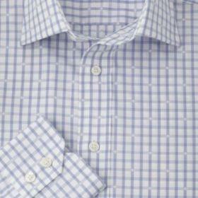 Мужская рубашка белая в светло-голубую клетку T.M.Lewin приталенная Slim Fit (42875)