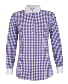 Женская рубашка в сиреневую клетку с белым воротником и манжетами хлопок T.M.Lewin приталенная Fitted (54650)