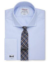 Мужская рубашка под запонки синяя T.M.Lewin приталенная Slim Fit (46456)