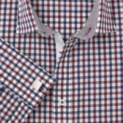 Мужская рубашка под запонки в красно-черную клетку T.M.Lewin сильно приталенная Fully Fitted (45398)