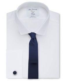 Мужская рубашка под запонки белая T.M.Lewin не мнущаяся Non Iron сильно приталенная Fitted (53828)