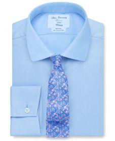 Мужская рубашка светло-синяя T.M.Lewin не мнущаяся Non Iron сильно приталенная Fitted (54159)