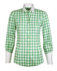 Женская рубашка в зеленую клетку с белым воротником и белыми манжетами T.M.Lewin приталенная Fitted (52889)
