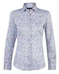Женская рубашка белая с цветным узором хлопок T.M.Lewin приталенная Fitted (52889)