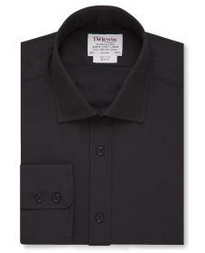 Мужская рубашка черная T.M.Lewin приталенная Slim Fit (46467)
