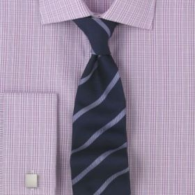 Рубашка мужская под запонки в сиреневую клетку T.M.Lewin приталенная Slim Fit (46734)