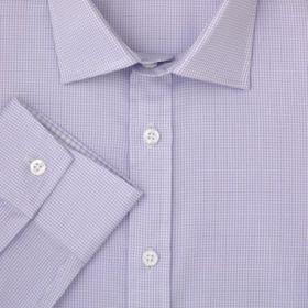 Мужская рубашка белая в мелкую сиреневую клетку T.M.Lewin сильно приталенная Fully Fitted (45692)